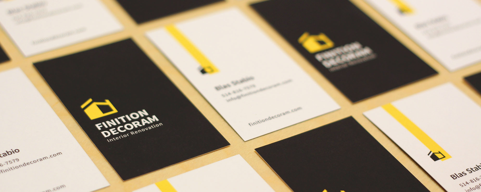 construction company Montreal business card design and print and full rebrand with new logo and website