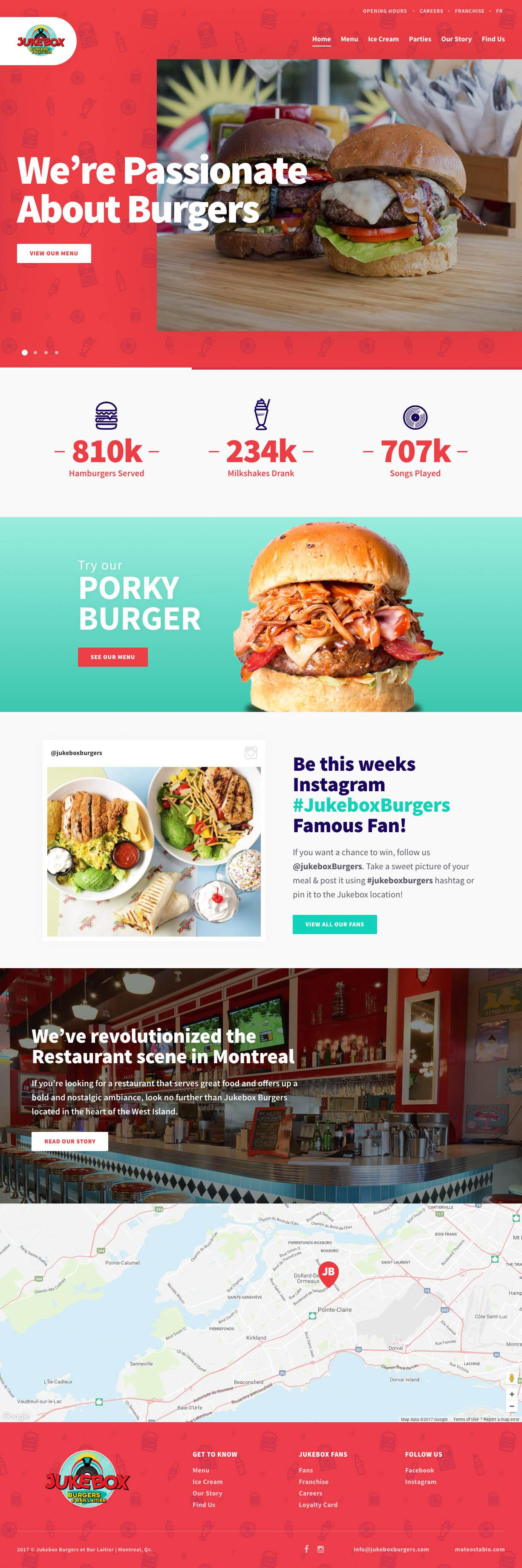 Full homepage restaurant website new modern mobile first custom built & integrated with Craft CMS