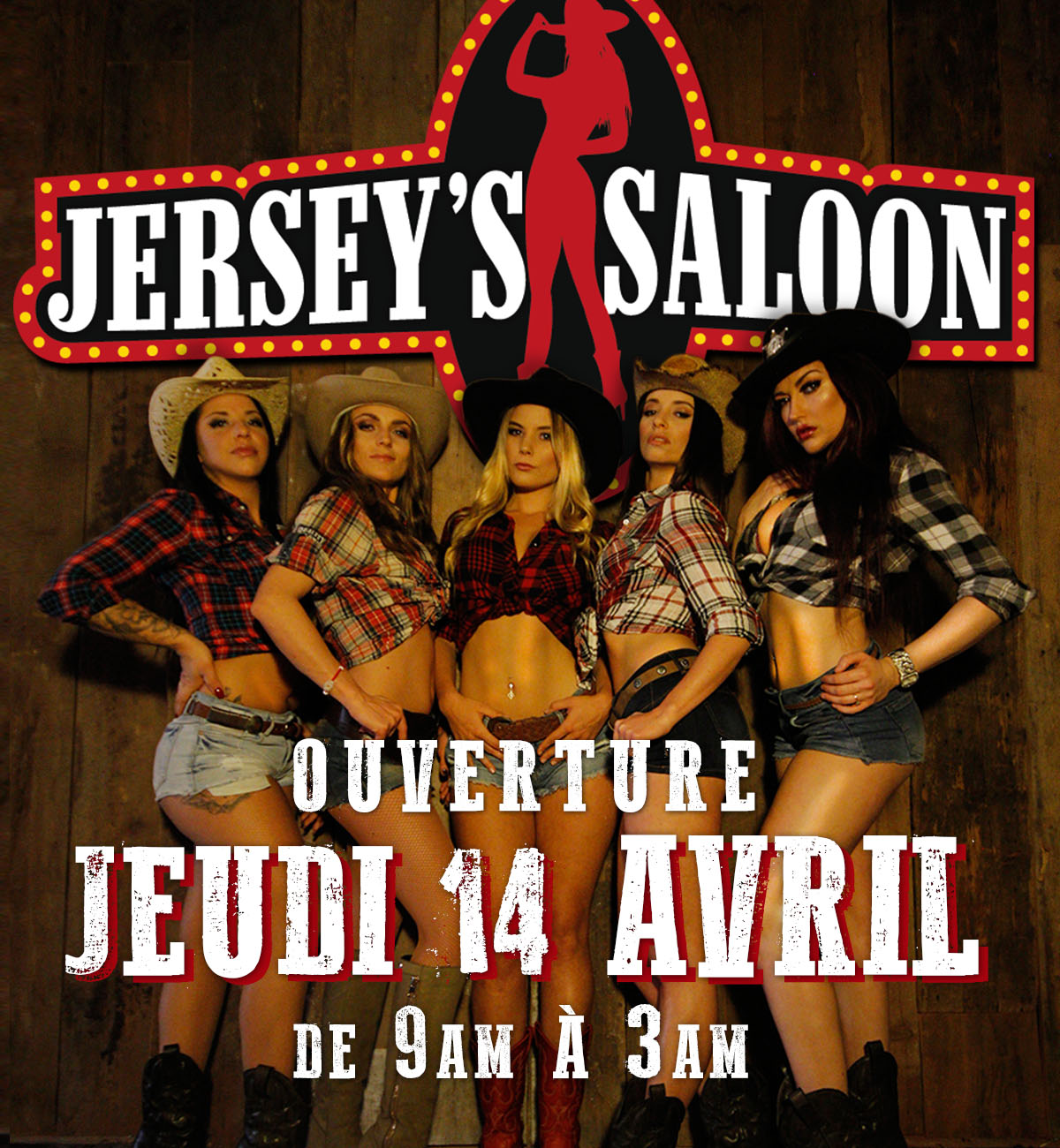 Jerseys Saloon Poster design opening party Montreal Bar