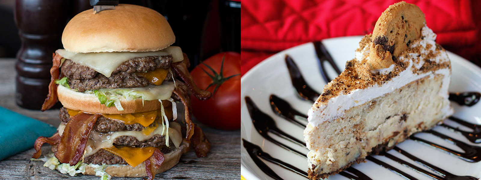 Montreal Restaurant food photography, big juicy burger shot with 5 patties, lots of bacon and cheese, burger tower