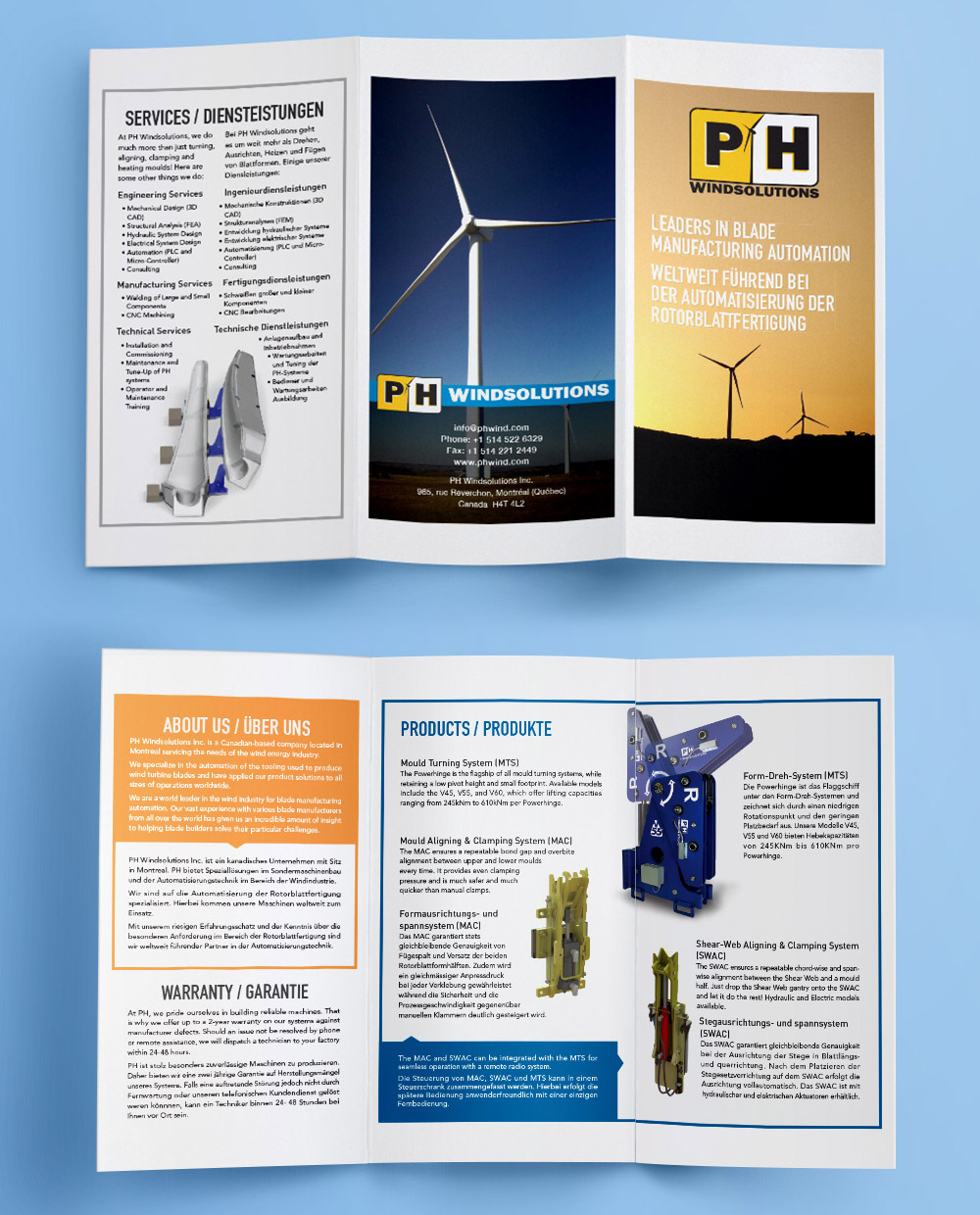 Brochure design 3 fold ply montreal company wind industry trade fair
