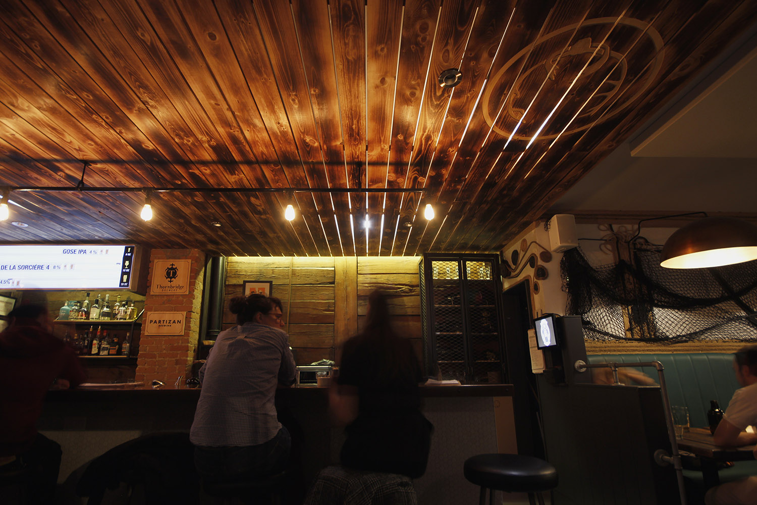 Pub Pit Caribou Night Ambience Wood Ceiling Edison Bulbs Bar