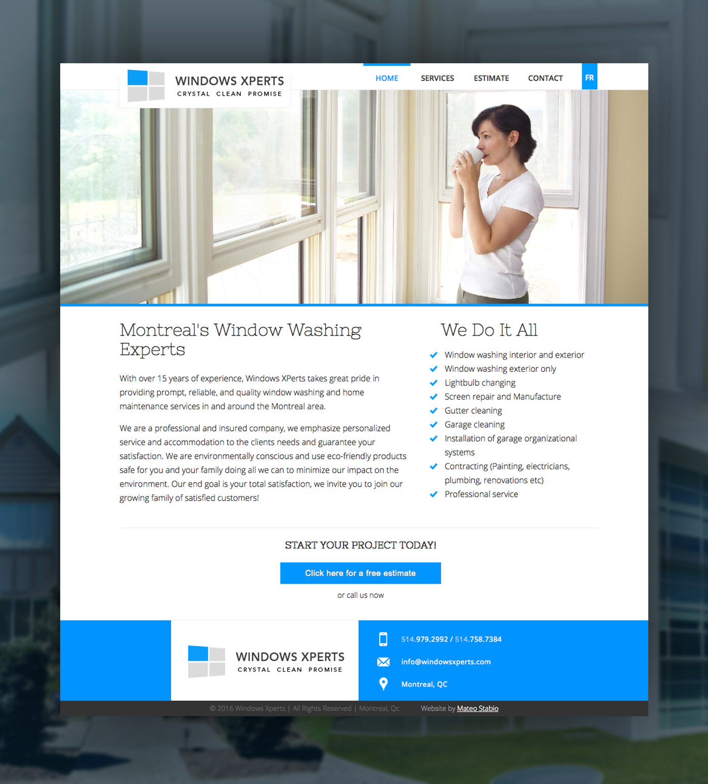 Clean white and blue website design header image with blue footer clean window cleaning company website design theme