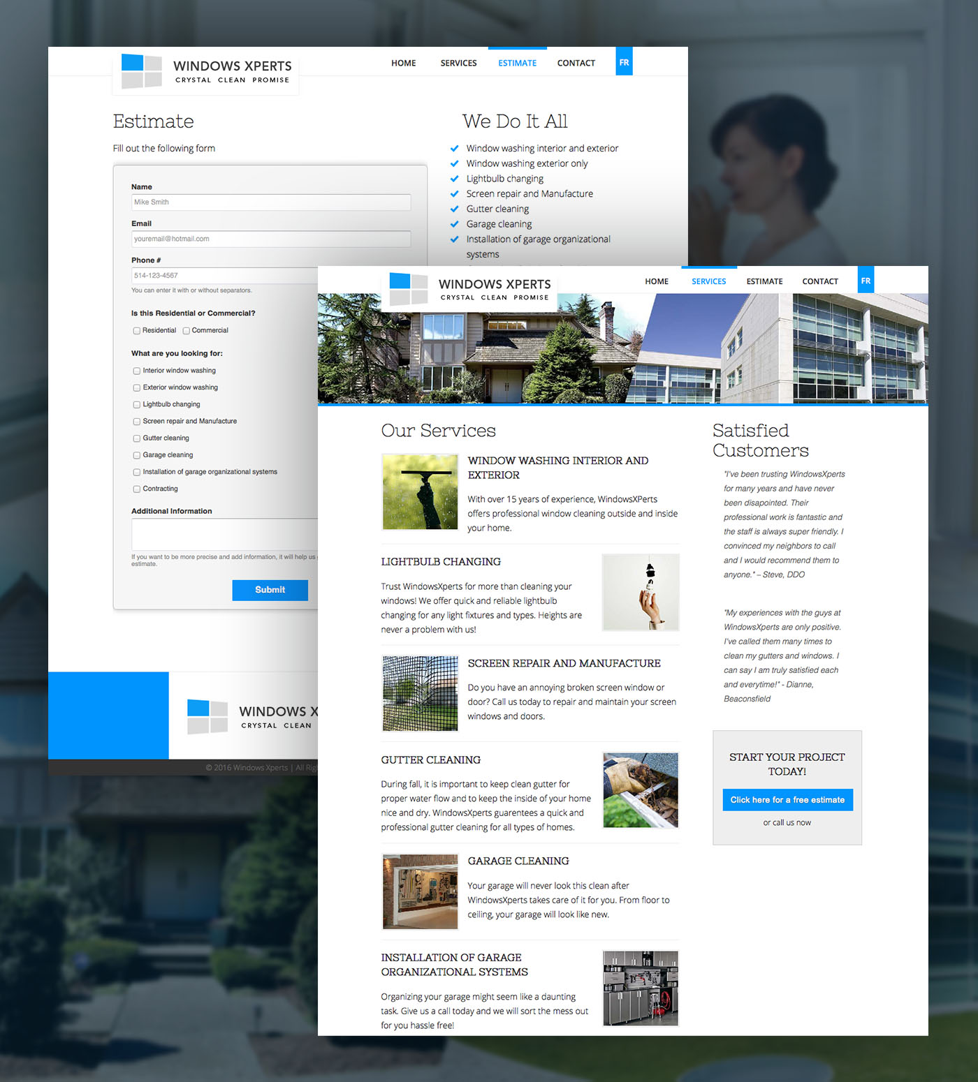 Clean white and blue website design contact form and estimates form complete quote form system website
